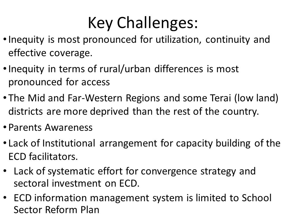 Key Challenges: Inequity is most pronounced for utilization, continuity and effective coverage.