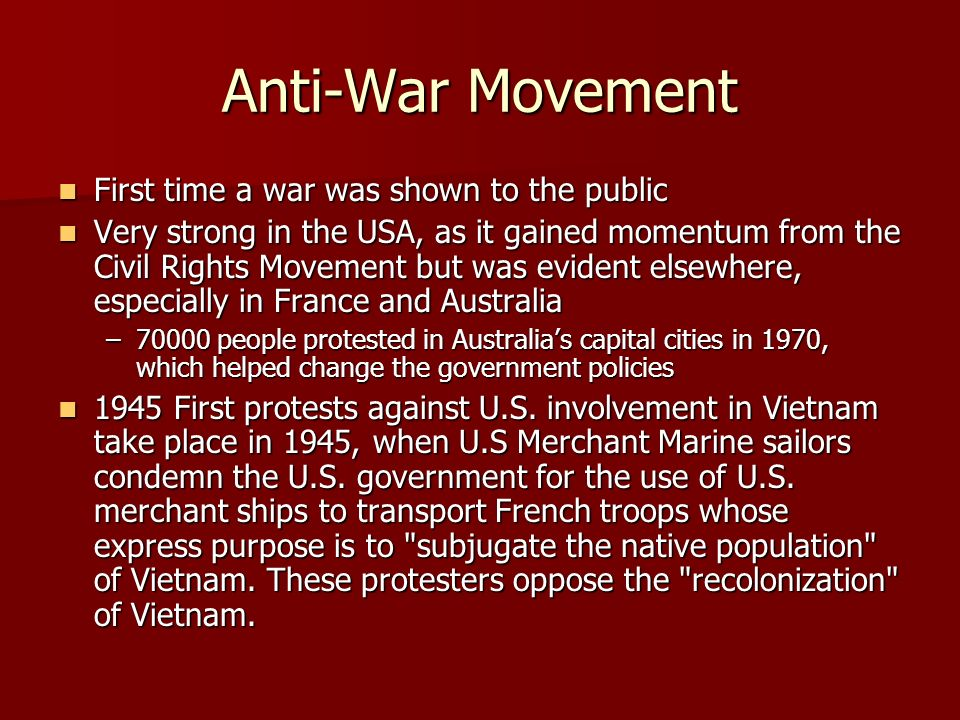 an introduction to the antiwar movement against vietnam The beginnings of the vietnam war and the antiwar movement - kill for peace: american artists against the vietnam war - by matthew israel.