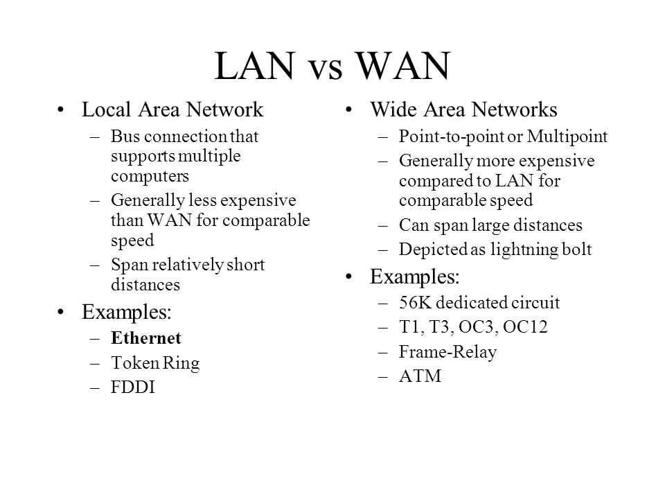 wide area networks and local area networks essay Start studying ict-242 9 learn vocabulary, terms, and more with what are the main differences between a local area network and a wide area network local area.
