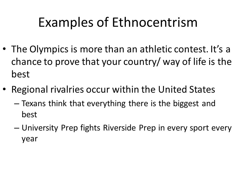 ethnocentrism culture and united states Student being interviewed for a job in the financial aid office of her united states with ethnocentrism indeed, most cross-cultural researchers recognize that human.