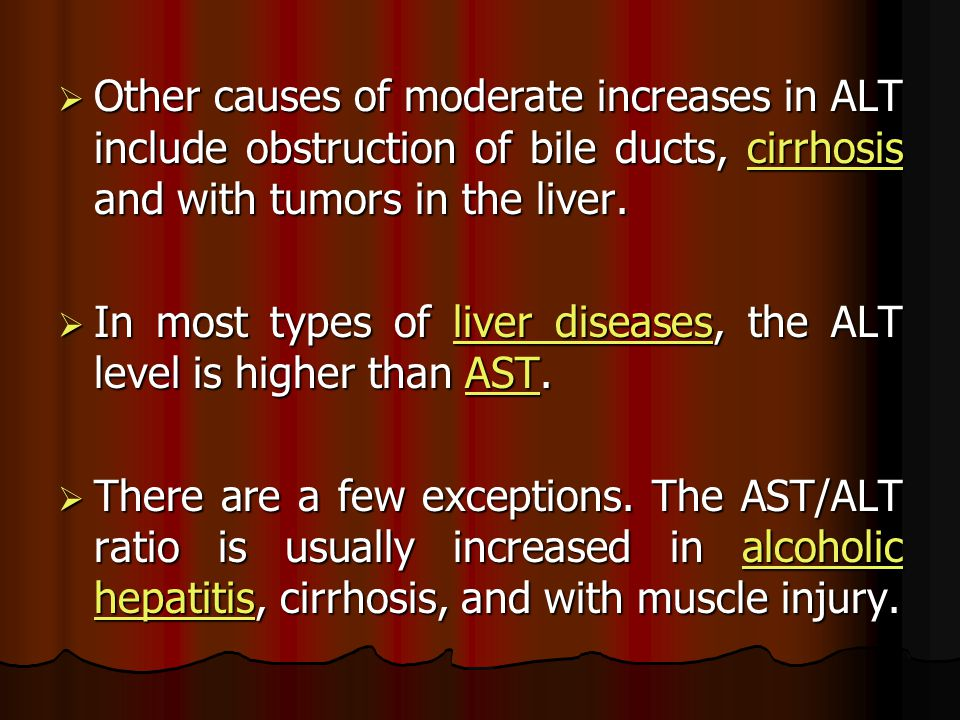 Other causes of moderate increases in ALT include obstruction of bile ducts, cirrhosis and with tumors in the liver.