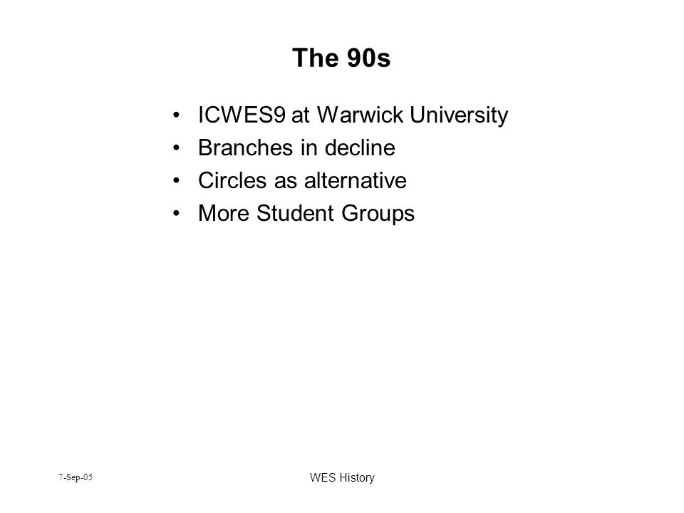 The 90s ICWES9 at Warwick University Branches in decline