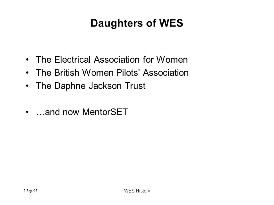 Daughters of WES The Electrical Association for Women