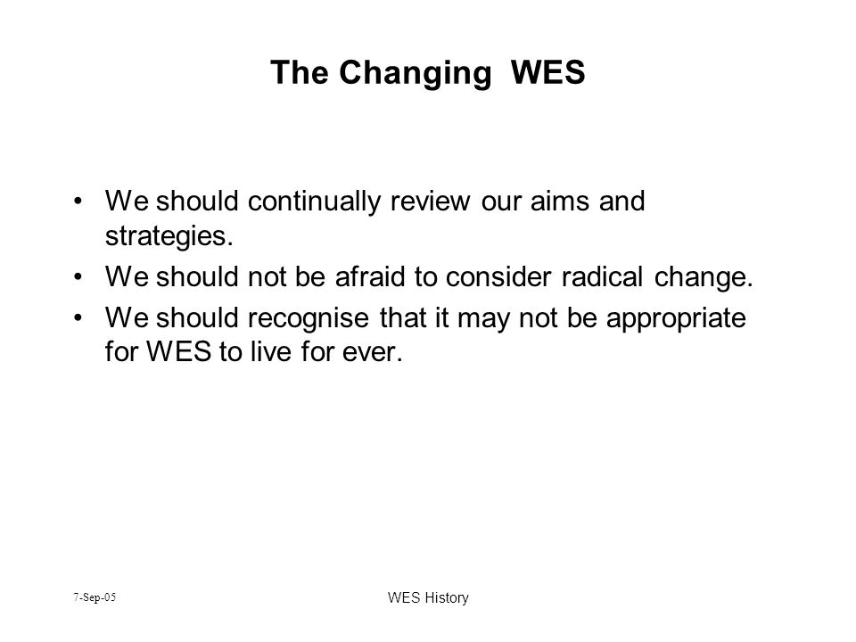 The Changing WES We should continually review our aims and strategies.