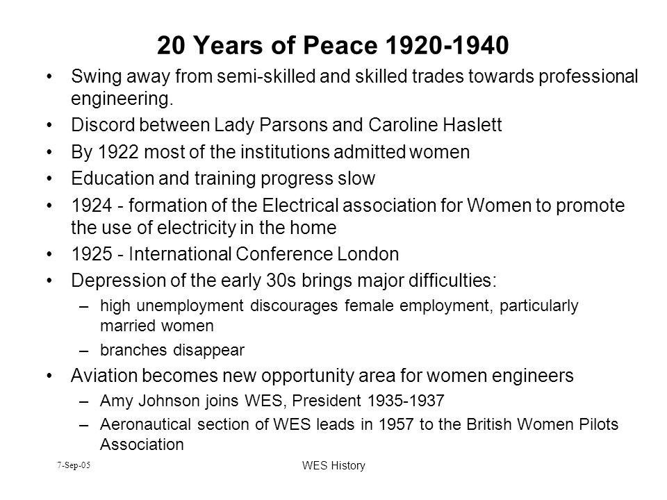 20 Years of Peace 1920-1940 Swing away from semi-skilled and skilled trades towards professional engineering.