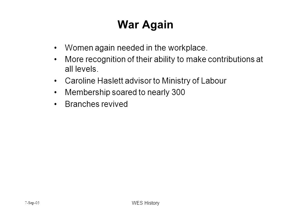War Again Women again needed in the workplace.