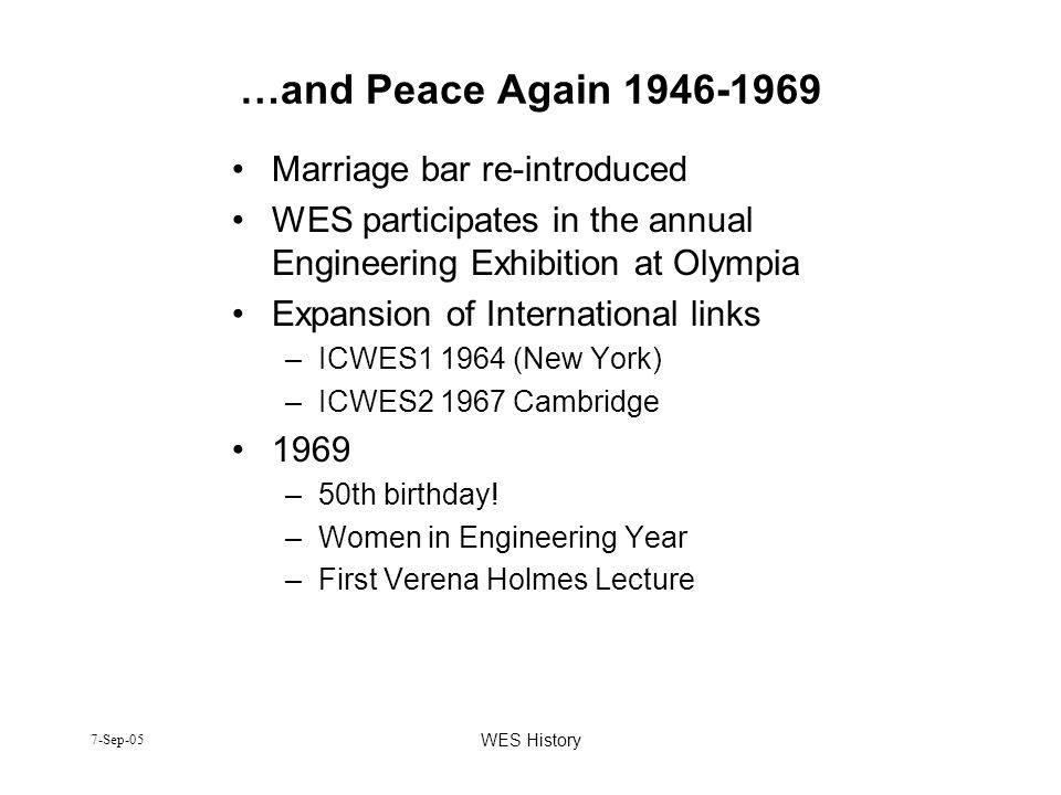 …and Peace Again 1946-1969 Marriage bar re-introduced