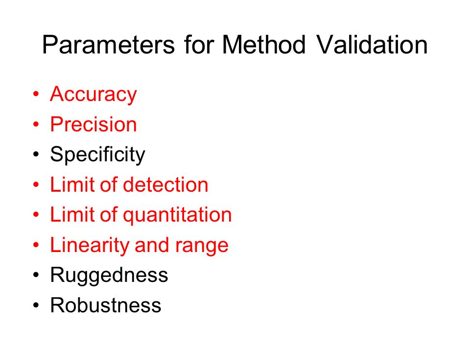 6 Parameters For Method Validation