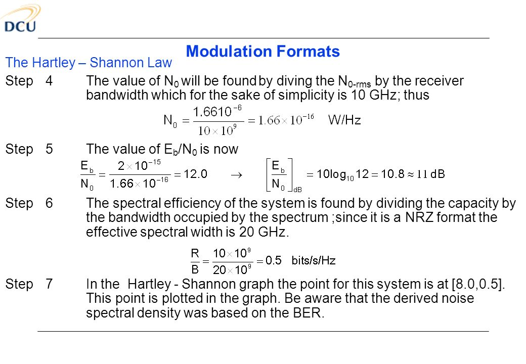 Modulation Formats The Hartley – Shannon Law