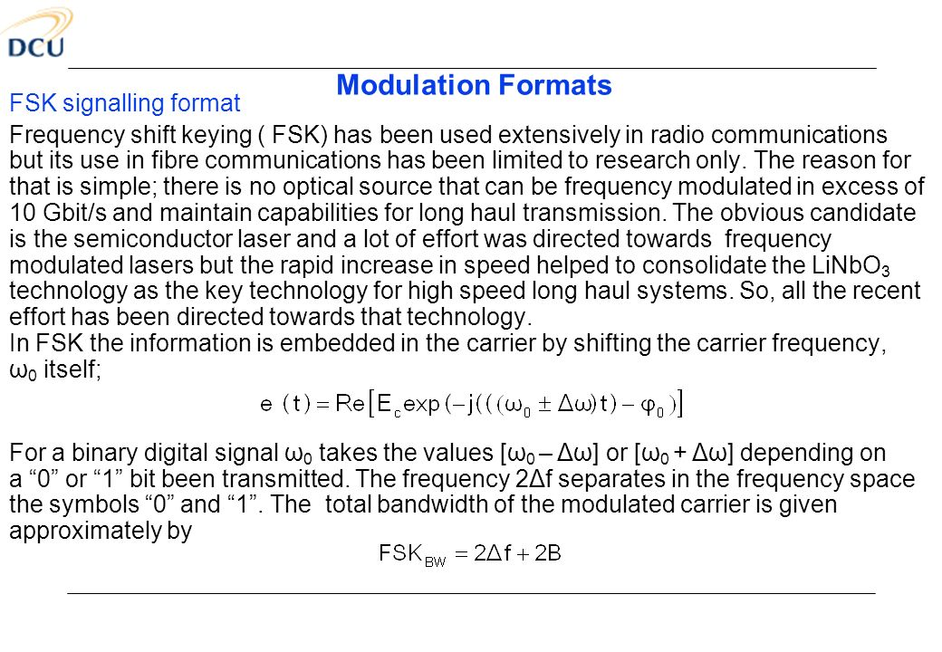Modulation Formats FSK signalling format