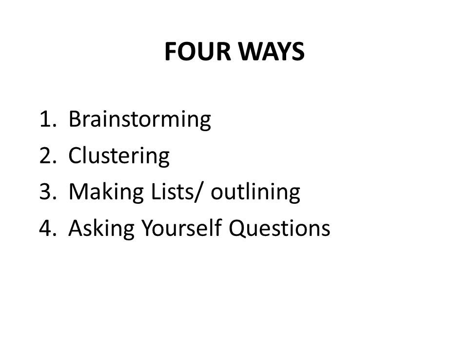 ways of brainstorming for an essay Great essays are made up of great ideas finding those great ideas is the first  critical step on the road to writing a terrific essay learn some.