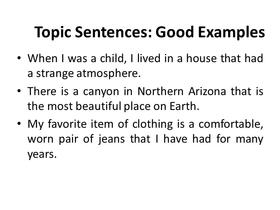 topic sentence examples