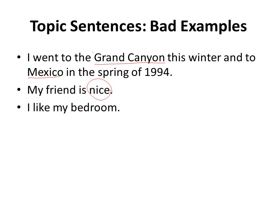 Topic Sentences Bad Examples