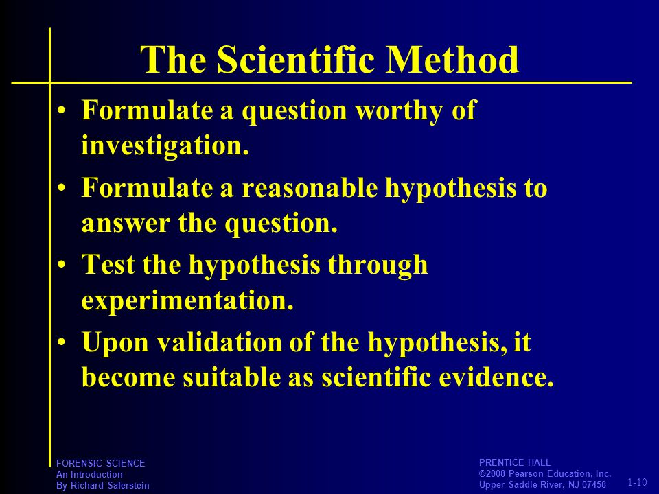 scientific method and criminal investigator The scientific method is an empirical method of knowledge acquisition which has characterized the development of natural science since at least the 17th century it involves careful observation, which includes rigorous skepticism about what is observed,.
