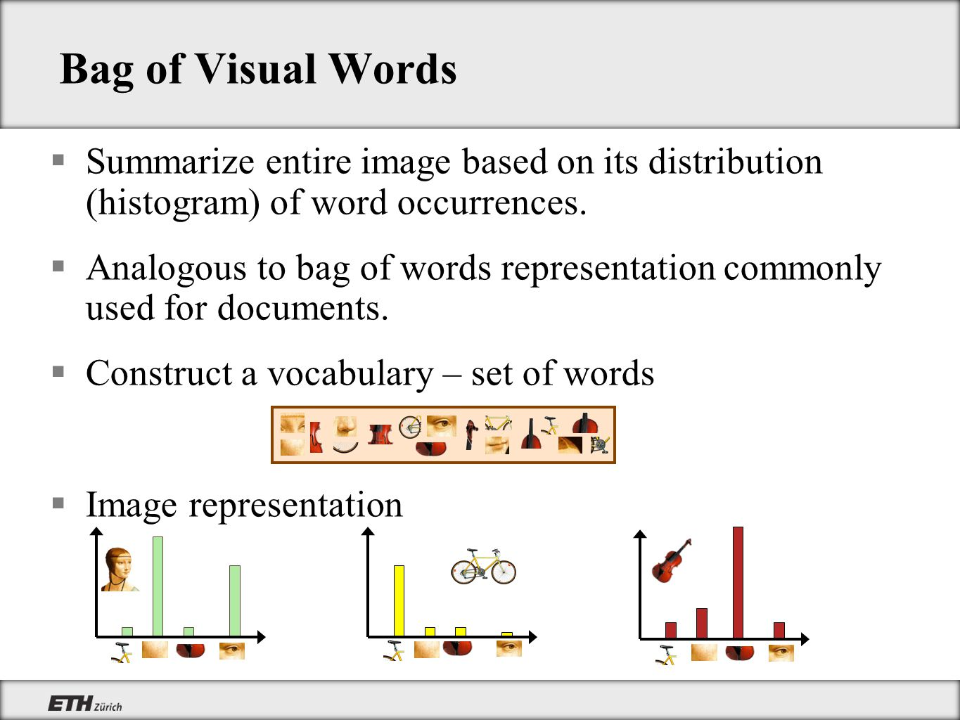 Bag of Visual Words Summarize entire image based on its distribution (histogram) of word occurrences.
