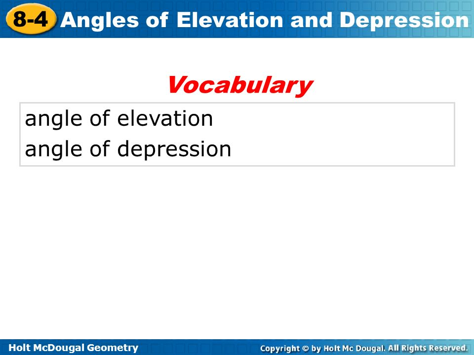 Vocabulary angle of elevation angle of depression