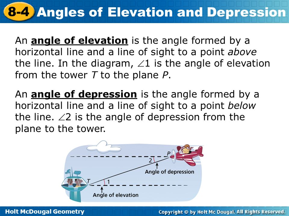 An angle of elevation is the angle formed by a horizontal line and a line of sight to a point above the line. In the diagram, 1 is the angle of elevation from the tower T to the plane P.
