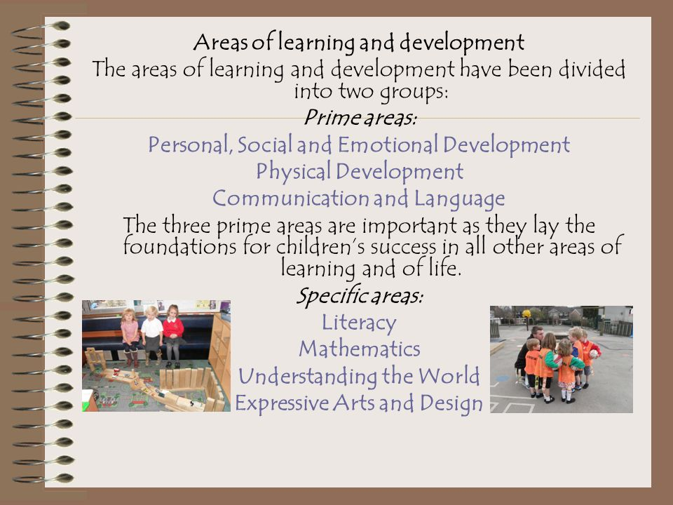 Areas of learning and development