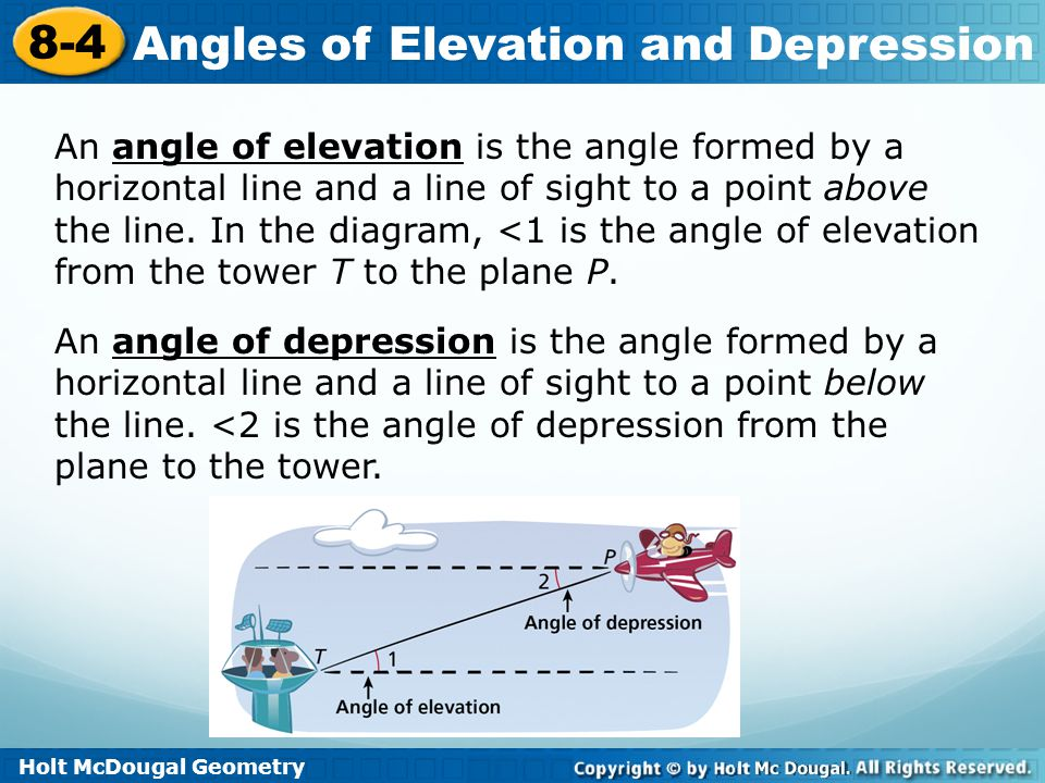 An angle of elevation is the angle formed by a horizontal line and a line of sight to a point above the line. In the diagram, <1 is the angle of elevation from the tower T to the plane P.