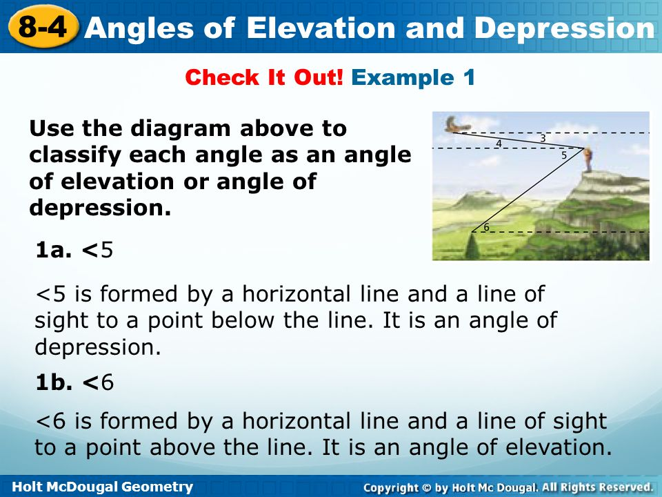Check It Out! Example 1 Use the diagram above to classify each angle as an angle of elevation or angle of depression.
