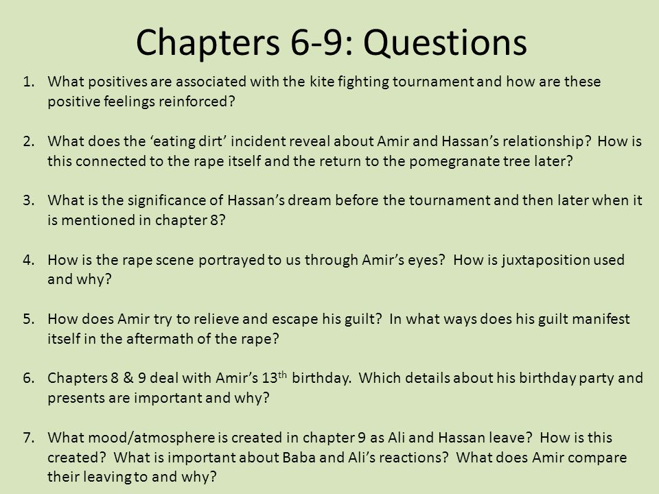 kite runner chapter 9 View notes - kite runner chapter 9 from english english vi at taylor high school, houston the kite runner chapter 9 _ quotation from the text page # response baba would have never thrown me this.