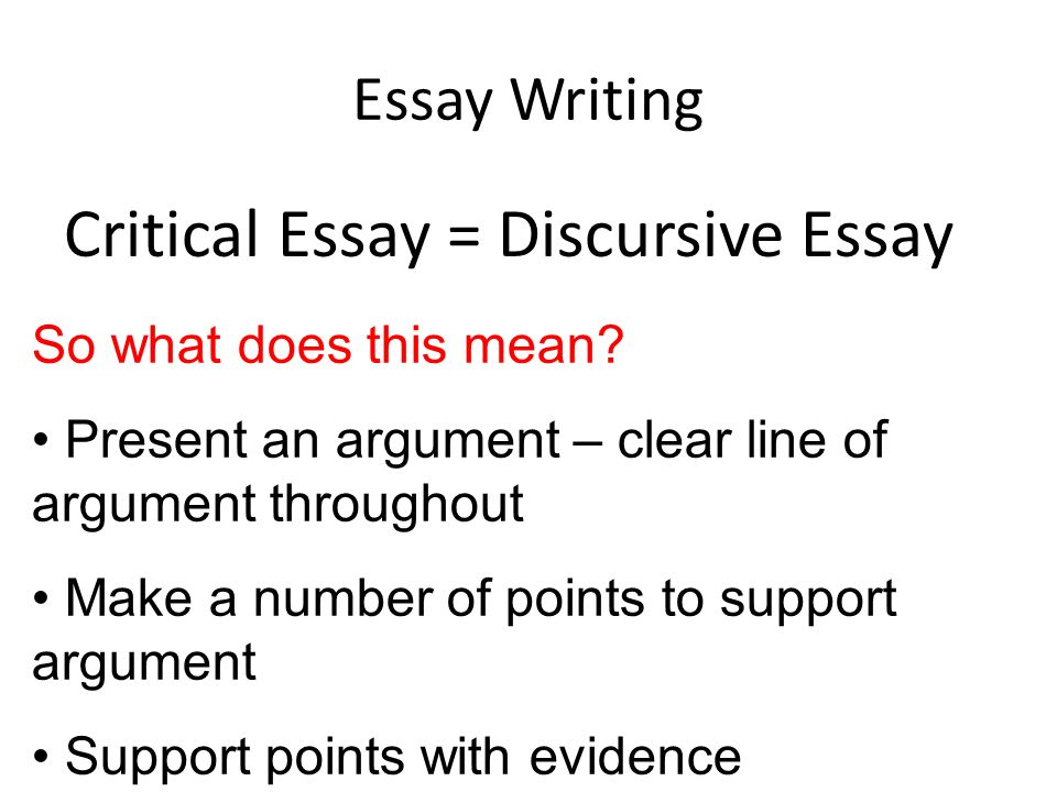 tips for writing a discursive essay Discursive essay is a genre of essay writing, in which there is no place for familiar language you should use impersonal style only the last advice that must be given: you have to use as many examples (but not personal) as possible.