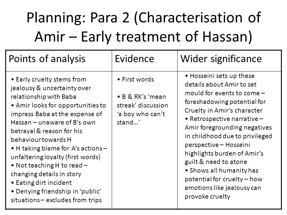 amir character analysis essay