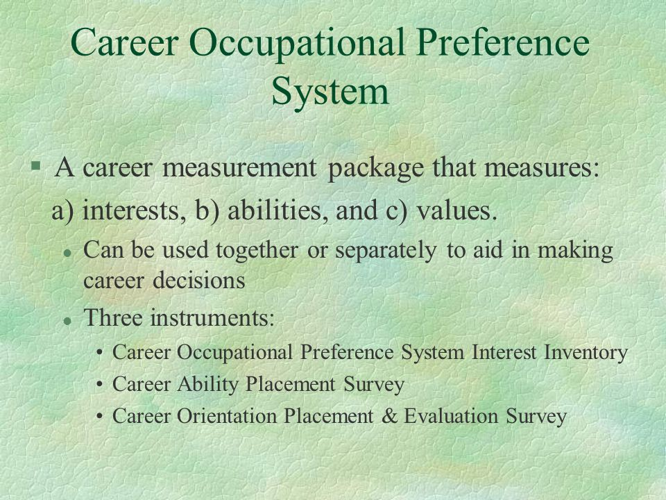 career occupational preference system pdf