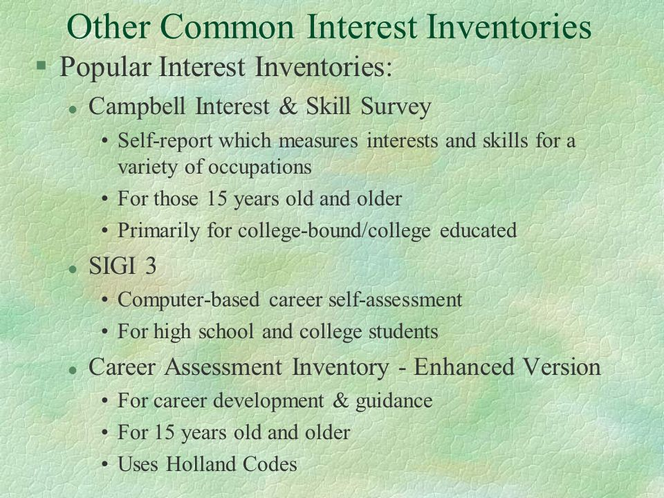 campbell interest and skill survey pdf