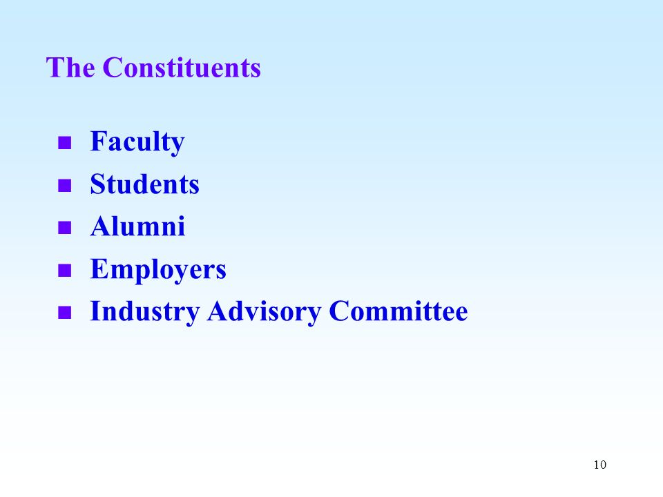 The Constituents Faculty Students Alumni Employers Industry Advisory Committee