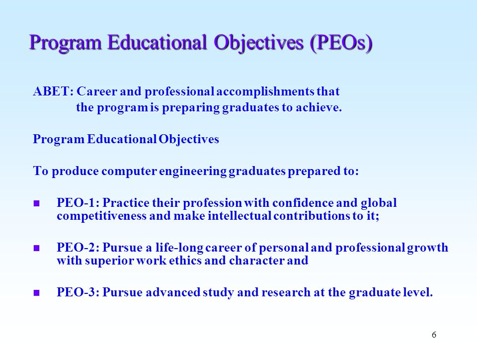 Program Educational Objectives (PEOs)
