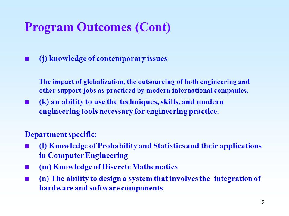 Program Outcomes (Cont)