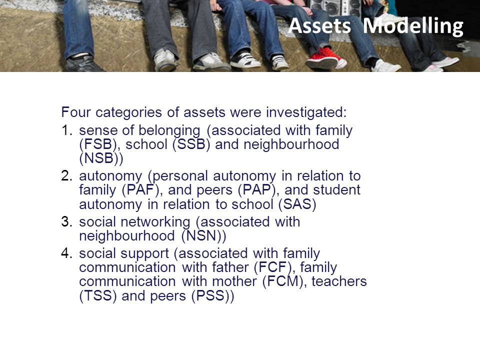 Assets Modelling Assets Four categories of assets were investigated: