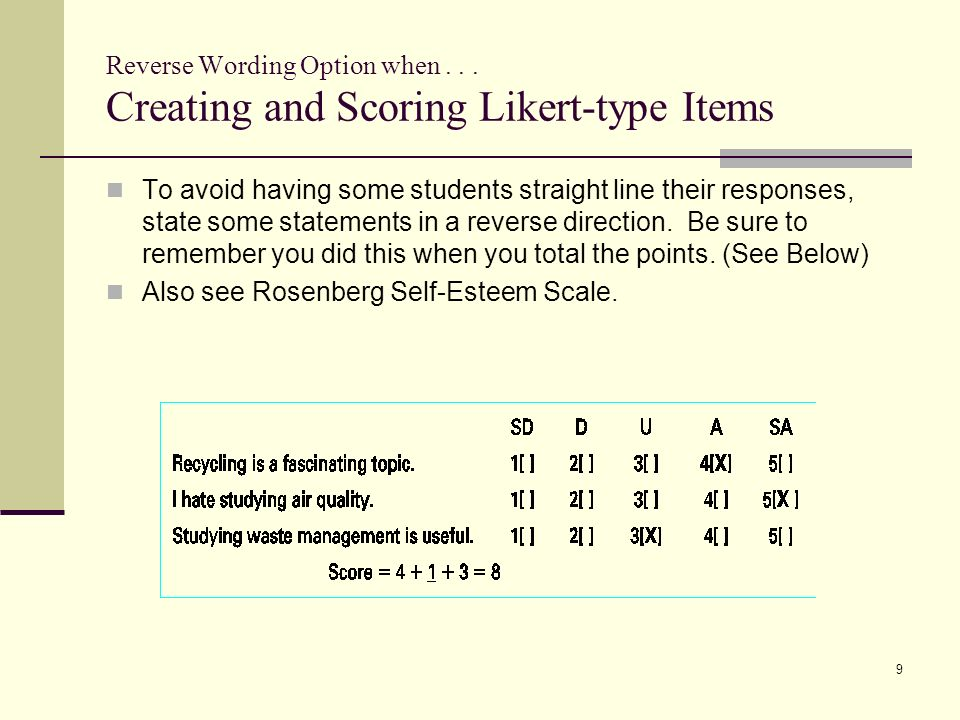 creating self esteem scales Rosenberg self-esteem scale in its brevity (10 items), and its easy-to-understand format is, in american research, the instrument of choice for use with adolescent populations in the standard text on psychological measurements, blascovich and tomaka (1991) observe.