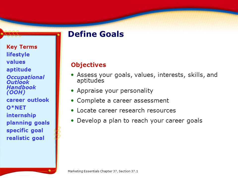 Define Goals Objectives