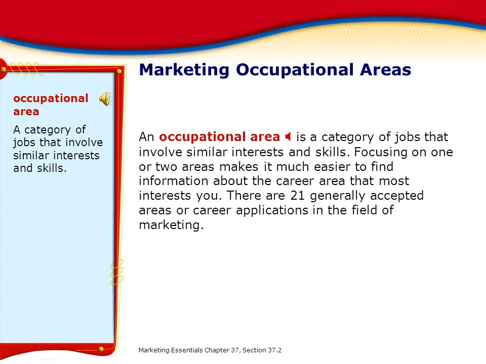 Marketing Occupational Areas