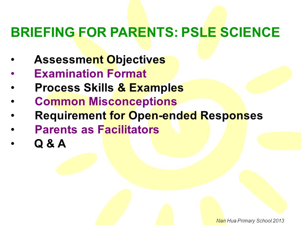 BRIEFING FOR PARENTS: PSLE SCIENCE