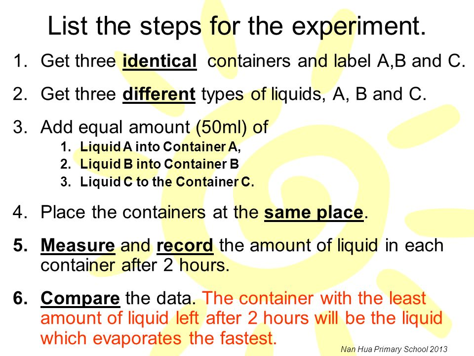 List the steps for the experiment.