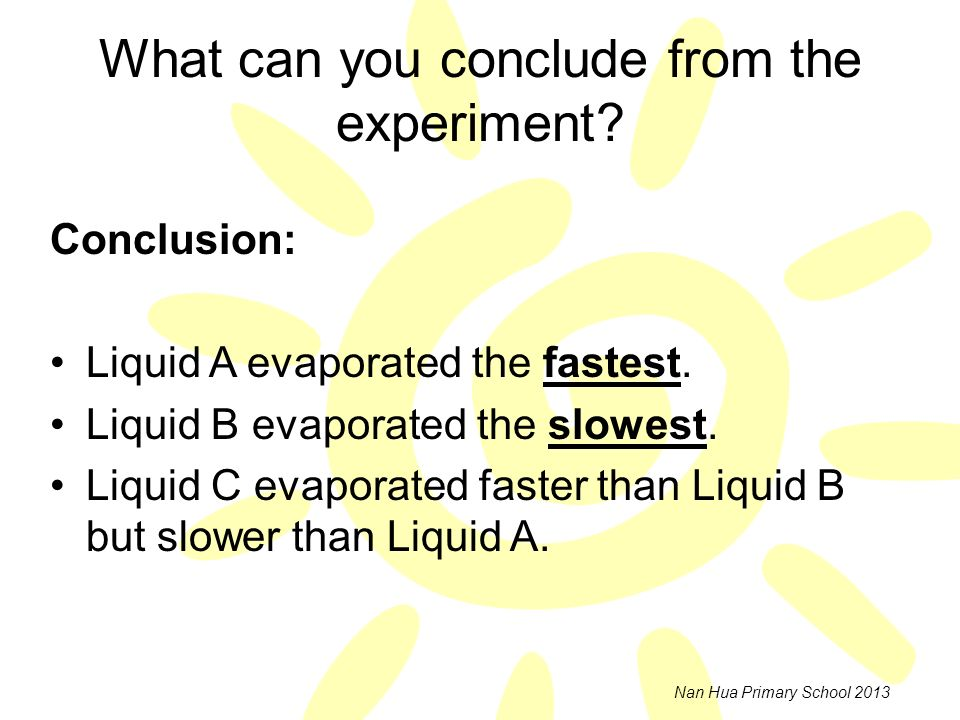What can you conclude from the experiment