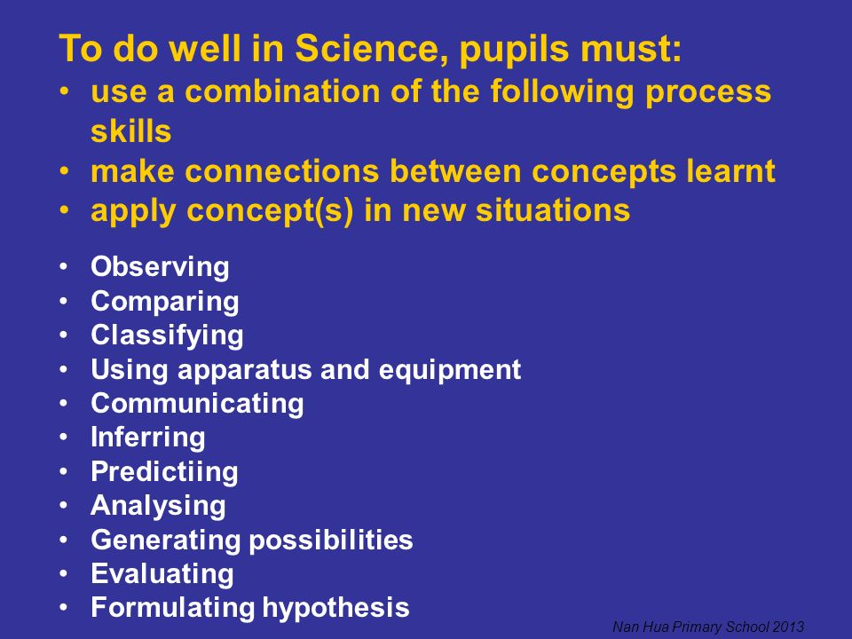 To do well in Science, pupils must: