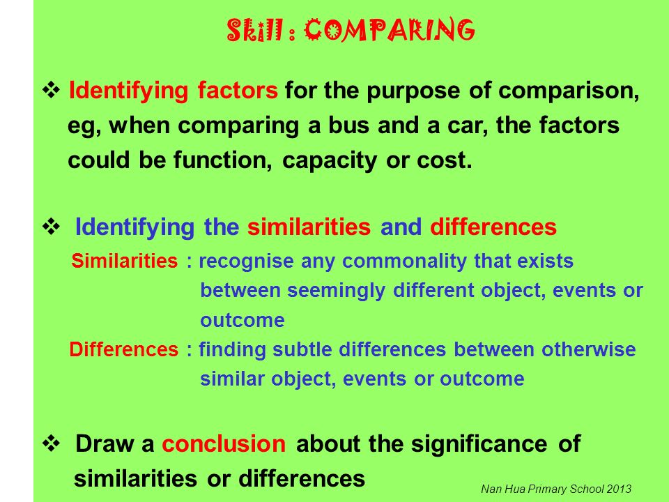Skill : COMPARING Identifying factors for the purpose of comparison,