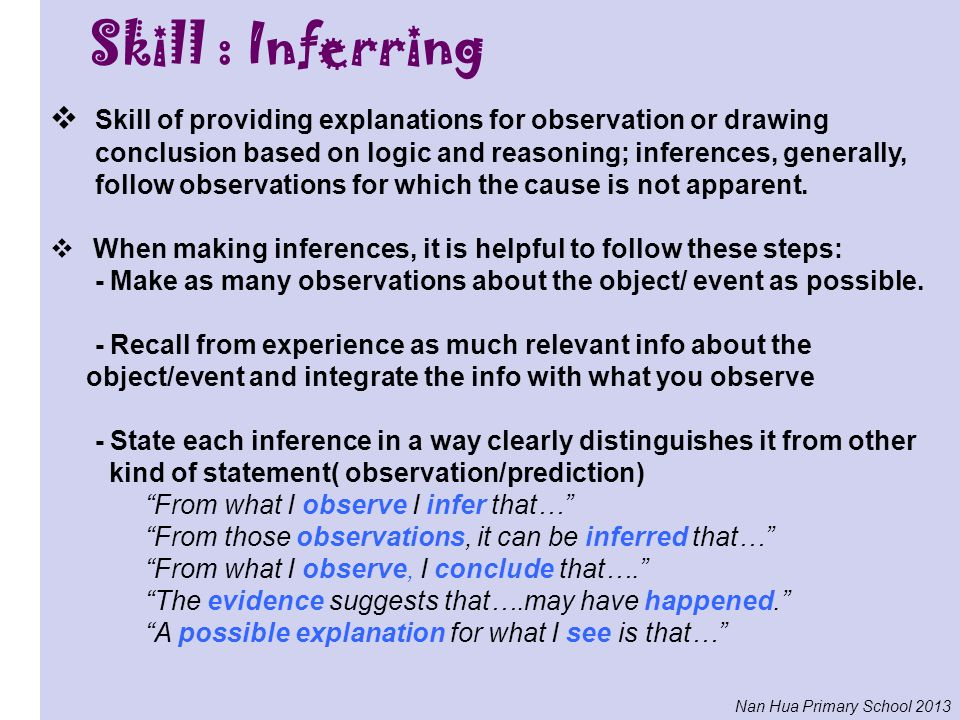 Skill : Inferring Skill of providing explanations for observation or drawing. conclusion based on logic and reasoning; inferences, generally,