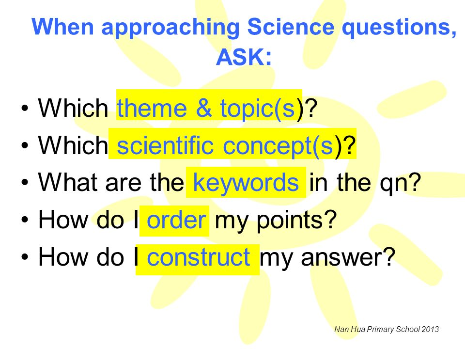 When approaching Science questions, ASK: