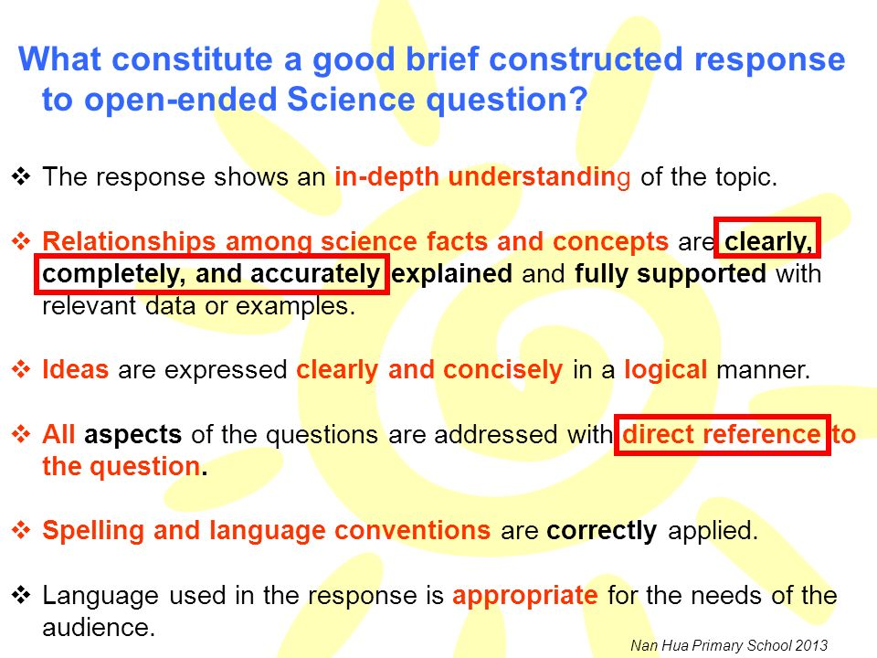 What constitute a good brief constructed response to open-ended Science question