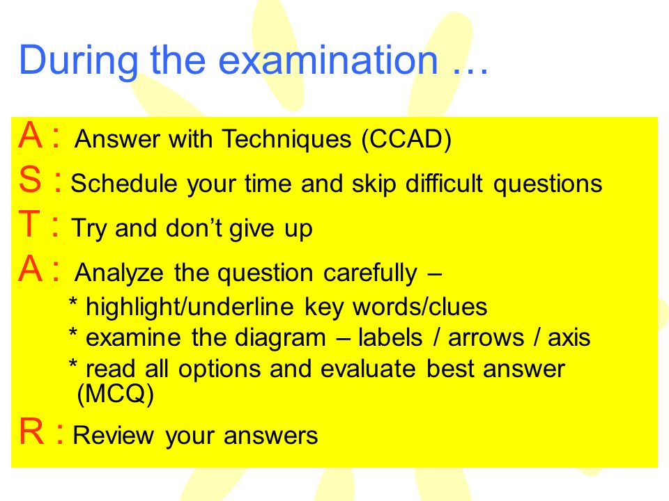 During the examination …