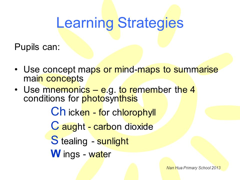 Learning Strategies Pupils can:
