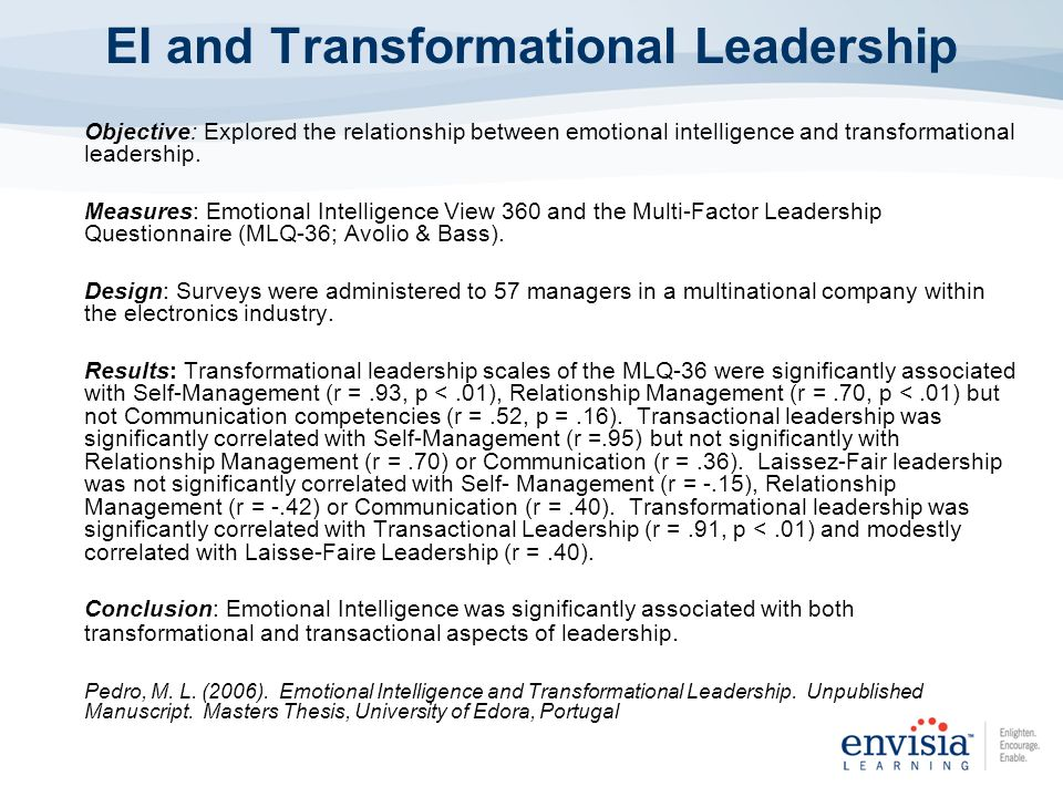 emotional intelligence and transformational leadership This manuscript examines the relationship of emotional intelligence (ei) with  transformational leadership (tl) and organizational citizenship behavior (ocb)  of.