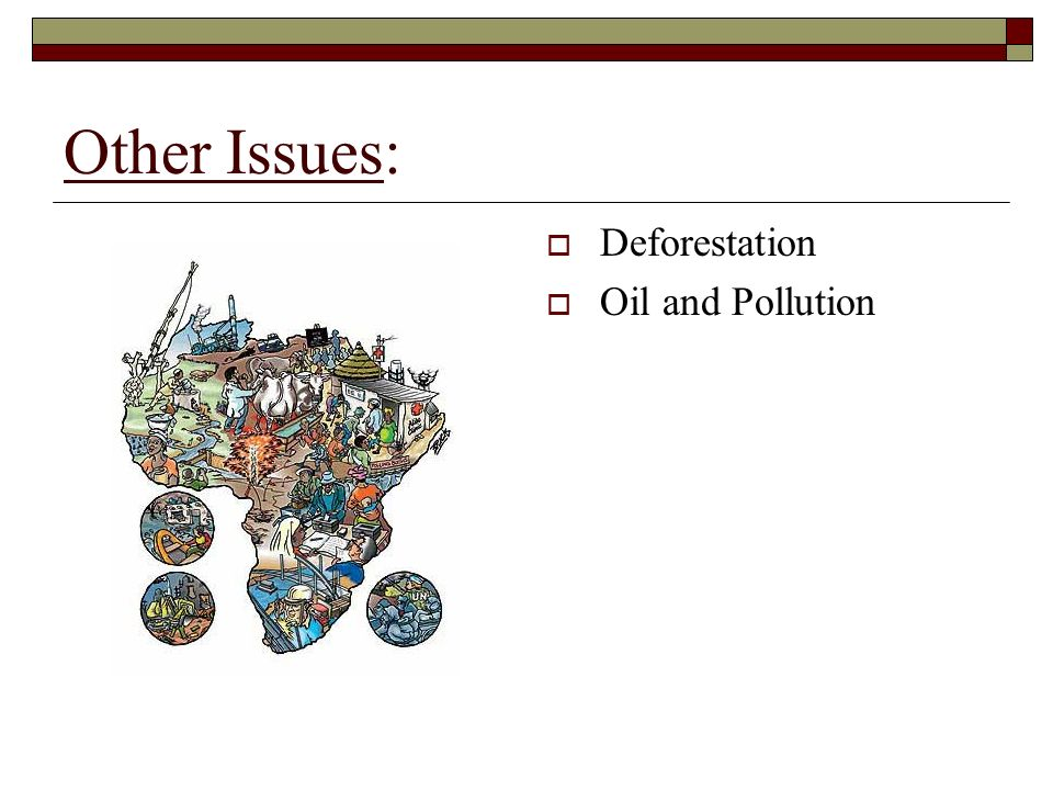 Other Issues: Deforestation Oil and Pollution