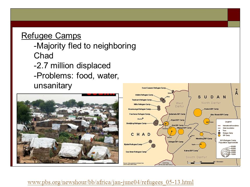 -Majority fled to neighboring Chad -2.7 million displaced