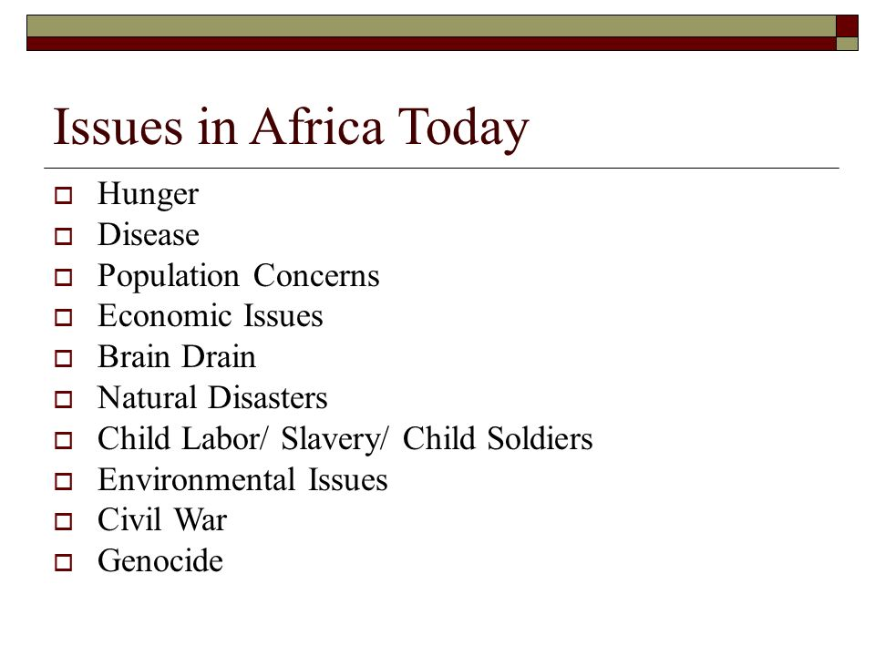 Issues in Africa Today Hunger Disease Population Concerns